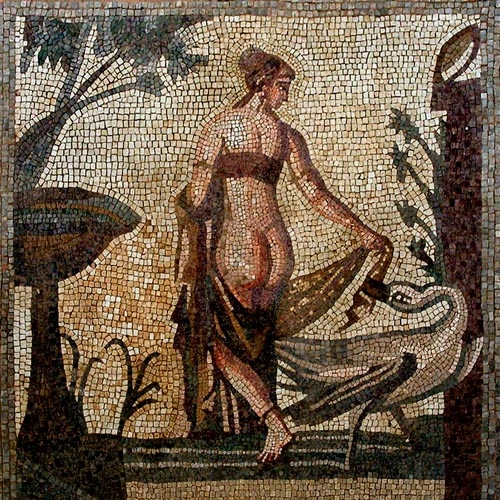 Mosaic depicting the myth of Zeus, who transformed into Swan trying to fall in the arms of the beautiful Leda