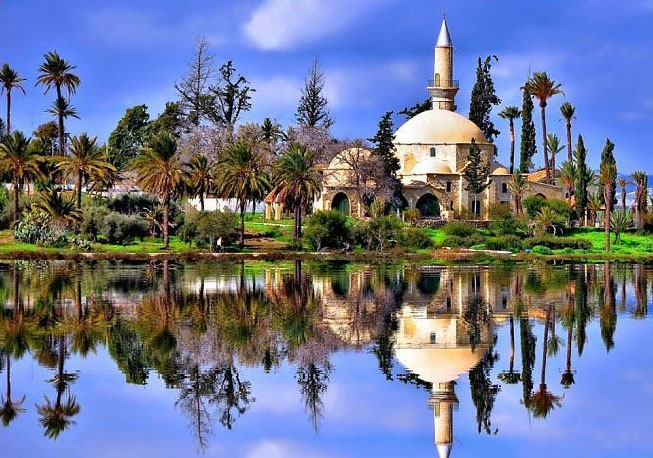 The Hala Sultan Tekke mirrored on Larnaca Salt Lake